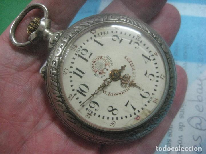 Relojes de bolsillo: TREMENDO RELOJ DE FERROVIARIO W.ROSSKOPF CHEMIN DE FER,TIRADA LIMITADA,Nº403 EXP UNIV PARIS,FUNCIONA - Foto 2 - 71833427