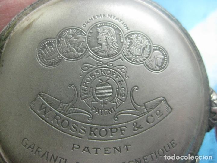 Relojes de bolsillo: TREMENDO RELOJ DE FERROVIARIO W.ROSSKOPF CHEMIN DE FER,TIRADA LIMITADA,Nº403 EXP UNIV PARIS,FUNCIONA - Foto 22 - 71833427