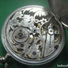 Relojes de bolsillo: MARAVILLOSO RELOJ DE BOLSILLO SUIZO UNICO POR SU MAQUINARIA CINCELADA A MANO,COMPLETO DE PLATA,1860. Lote 71929347