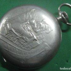 Relojes de bolsillo: GRAN FERROVIARIO RELOJ DE BOLSILLO REGULATEUR TRIB LOCOMOTORA LABRADA, DATA DE 1910,FUNCIONA, 56 MM. Lote 72048315
