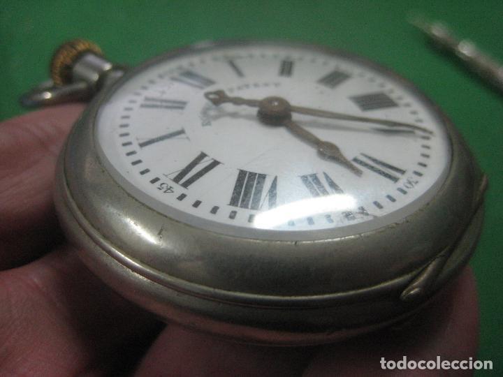 Relojes de bolsillo: TREMENDO ROSKOPF PATENT DE ESTRELLA DE 5 PUNTAS LOBULADA DE 1895, FUNCIONA, ENORME DE 58 MM - Foto 6 - 72064451