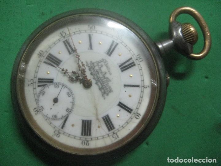 TREMENDO FERROVIARIO GOLIATH RELOJ DE BOLSILLO SUIZO, DATA DE 1900, FUNCIONANDO, 66 MM SIN CORONA (Relojes - Bolsillo Carga Manual)