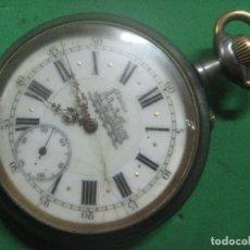 Relojes de bolsillo: TREMENDO FERROVIARIO GOLIATH RELOJ DE BOLSILLO SUIZO, DATA DE 1900, FUNCIONANDO, 66 MM SIN CORONA. Lote 72252299