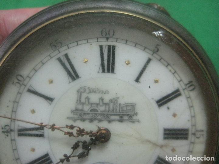 Relojes de bolsillo: TREMENDO FERROVIARIO GOLIATH RELOJ DE BOLSILLO SUIZO, DATA DE 1900, FUNCIONANDO, 66 MM SIN CORONA - Foto 3 - 72252299