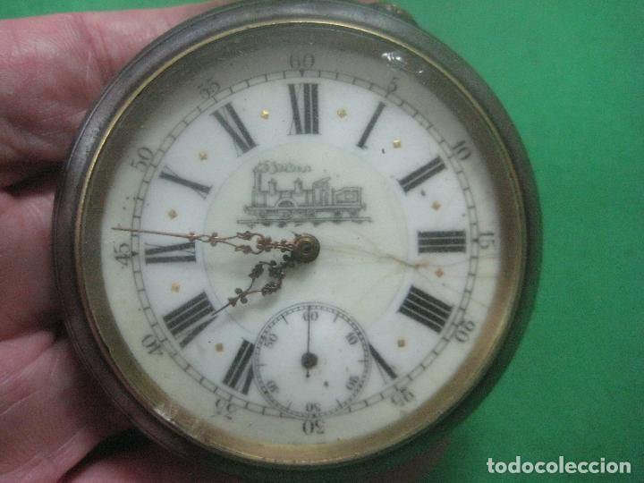 Relojes de bolsillo: TREMENDO FERROVIARIO GOLIATH RELOJ DE BOLSILLO SUIZO, DATA DE 1900, FUNCIONANDO, 66 MM SIN CORONA - Foto 4 - 72252299