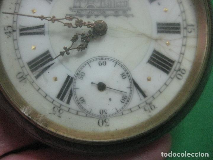 Relojes de bolsillo: TREMENDO FERROVIARIO GOLIATH RELOJ DE BOLSILLO SUIZO, DATA DE 1900, FUNCIONANDO, 66 MM SIN CORONA - Foto 11 - 72252299