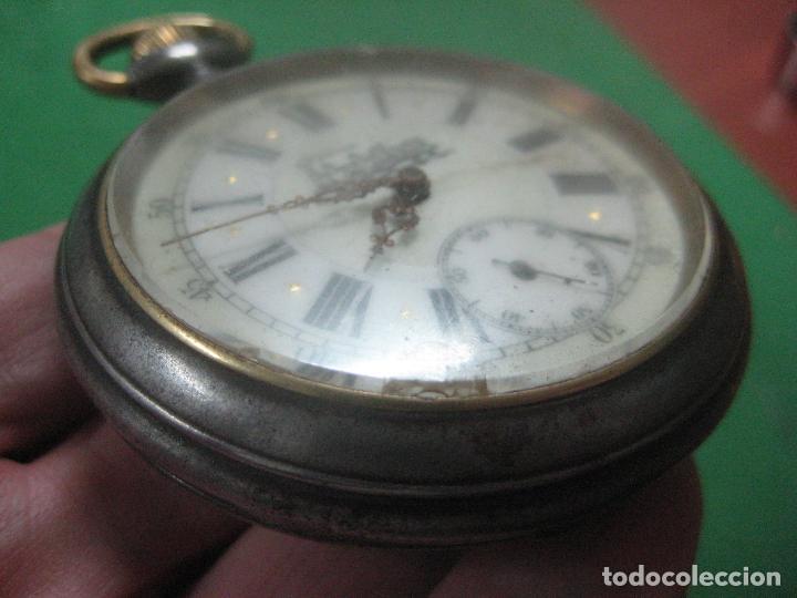 Relojes de bolsillo: TREMENDO FERROVIARIO GOLIATH RELOJ DE BOLSILLO SUIZO, DATA DE 1900, FUNCIONANDO, 66 MM SIN CORONA - Foto 14 - 72252299
