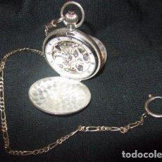 Relojes de bolsillo: RELOJ BOLSILLO PLATA DOBLE TAPA ESQUELETO MECANICO CON CADENA O LEONTINA.FUNCIONA. 84 GRAMOS. Lote 75813995