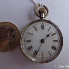 Relojes de bolsillo: MUY ANTIGUO (SOBRE 1900) E IMPORTANTE RELOJ BOLSILLO CUERDA PLATA MACIZA REPUJADA, FUNCIONANDO PERFE. Lote 76201871