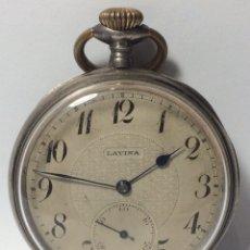 Relojes de bolsillo: RELOJ LAVINA PLATA CON CONTRASTE. Lote 76414794