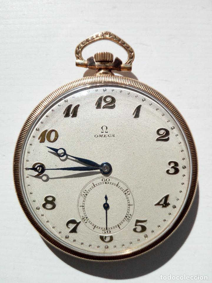 Relojes de bolsillo: Reloj de bolsillo Omega chapado en oro y funcionando perfectamente. - Foto 3 - 76949597