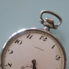 Relojes de bolsillo: RELOJ BOLSILLO LONGINES PLATA 900 SIGLO XIX, 45 MM. FUNCIONA PERFECTAMENTE. Lote 78349793
