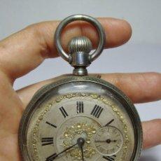 Relojes de bolsillo: RELOJ DE BOLSILLO. CON 3 TAPAS. SPIRAL BREGUET - REMONTOIR - 15 RUBÍS. PLATA. FUNCIONA. . Lote 80869827