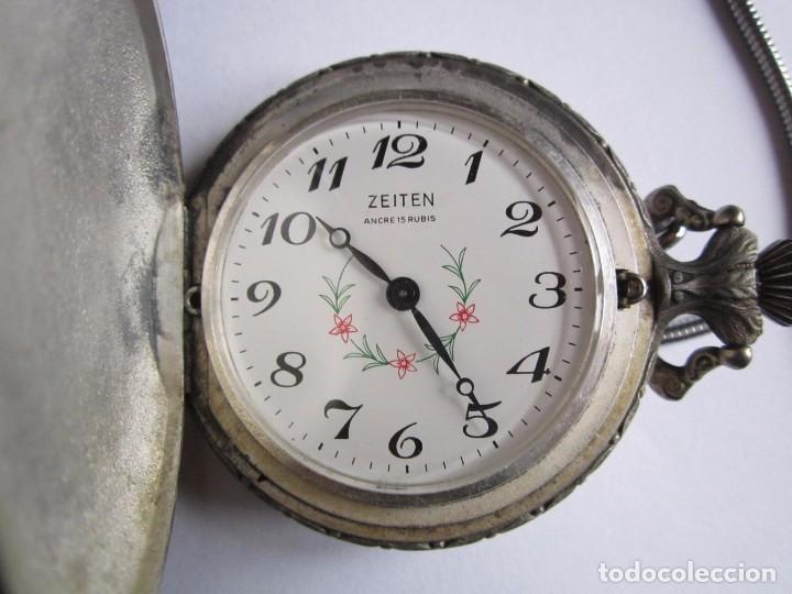 RELOJ DE BOLSILLO FUNCIONANDO CAZADOR ZEITEN ANCORA 15 RUBIS MADE IN SUIZA 45MM. (Relojes - Bolsillo Carga Manual)