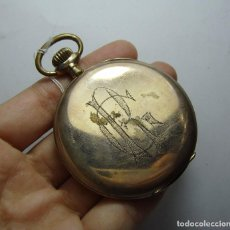 Relojes de bolsillo: RELOJ DE BOLSILLO. CARGA MANUAL. DE 3 TAPAS. CRONOMETRO QUILLET. CON SEGUNDERO. BAÑADO EN ORO.. Lote 81018828