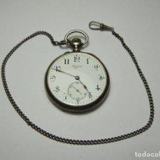 Relojes de bolsillo: RELOJ DE BOLSILLO. CARGA MANUAL. 3 TAPAS. LONGINES. FECHADO 1900. PLATA CON CONTRASTE. CON LEONTINA.. Lote 81523116