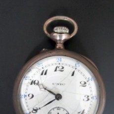 Relojes de bolsillo: RELOJ DE PLATA UNIC ESPIRAL BREGUET 15 RUBIS. 3 TAPAS. Lote 81601352