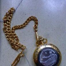 Relojes de bolsillo: RELOJ DE BOLSILLO CON UNA PESETA DE 1869 EN PLATA EN LA TAPA. Lote 140671601