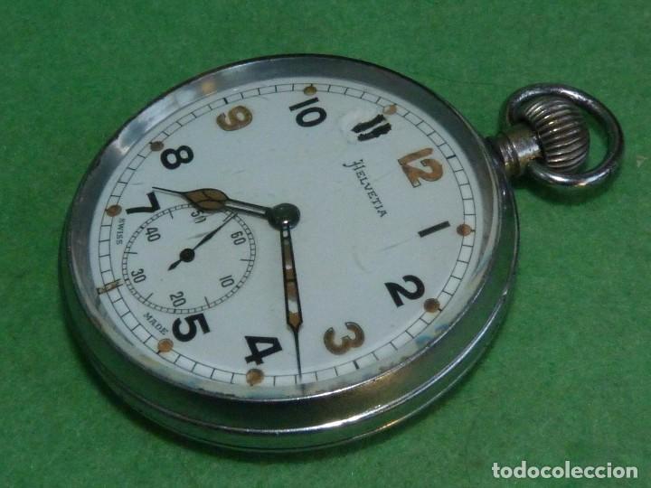 BELLO RELOJ MILITAR HELVETIA 15 RUBIS AÑOS 40 CALIBRE 32A DUGENA 230 SWISS MADE 2ªWW MARCAJES GSTP (Relojes - Bolsillo Carga Manual)