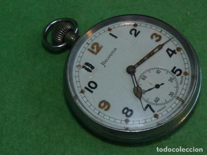 Relojes de bolsillo: Bello reloj militar HELVETIA 15 rubis años 40 calibre 32A Dugena 230 swiss made 2ªWW marcajes GSTP - Foto 2 - 83880752
