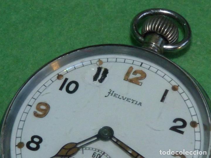 Relojes de bolsillo: Bello reloj militar HELVETIA 15 rubis años 40 calibre 32A Dugena 230 swiss made 2ªWW marcajes GSTP - Foto 3 - 83880752