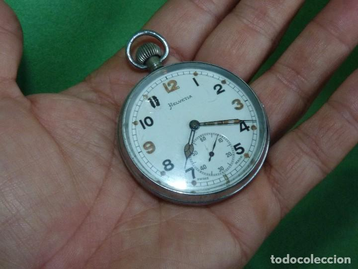 Relojes de bolsillo: Bello reloj militar HELVETIA 15 rubis años 40 calibre 32A Dugena 230 swiss made 2ªWW marcajes GSTP - Foto 7 - 83880752