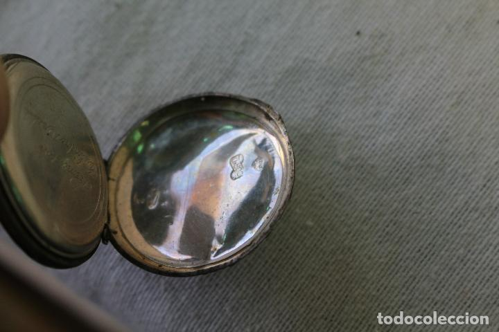 Relojes de bolsillo: RELOJ BOLSILLO EN PLATA DE LEY TRES TAPAS, CYLINDRE REMONTOIR 10 RUBIS. - Foto 4 - 85008276