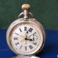 Relojes de bolsillo: RELOJ DE BOLSILLO DE TRES TAPAS, 15 RUBIES,DE PLATA 0.800.ANCRE LIGNE DROITE.S. XIX.. Lote 85632079