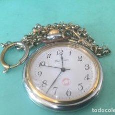 Relojes de bolsillo: PRECIOSO RELOJ DE BOISLLO THERMIDOR CON LEONTINA Y PILA RECIEN COMPRADO. Lote 86203960