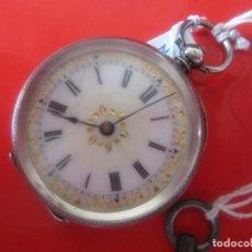 Relojes de bolsillo: ANTIGUO RELOJ DE PLATA A LLAVE. Lote 86491992