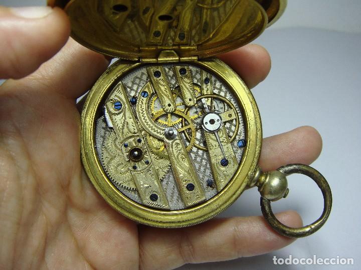 RELOJ DE BOLSILLO DE LLAVE. CON 3 TAPAS. PRECIOSA MAQUINARIA TRABAJADA. BAÑO DE ORO. GIRARD - GENEVE (Relojes - Bolsillo Carga Manual)