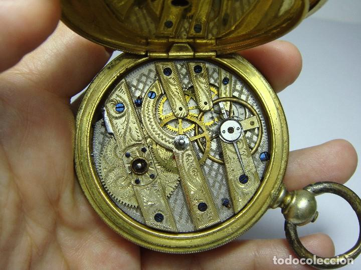 Relojes de bolsillo: Reloj de Bolsillo de llave. Con 3 tapas. Preciosa maquinaria trabajada. Baño de Oro. GIRARD - GENEVE - Foto 6 - 86671720