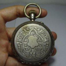 Relojes de bolsillo: RELOJ DE BOLSILLO. DE 3 TAPAS. PLATA (CON CONTRASTES). LIGNE DROITE. REMONTOIR. 15 RUBÍS.. Lote 86703696