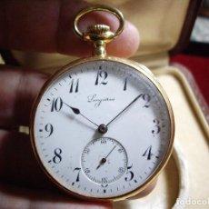Relojes de bolsillo: RELOJ LONGINES DE ORO DE 18 KLTS, CON ESTUCHE DE EPOCA. PERFECTO FUNCIONAMIENTO. Lote 87874620