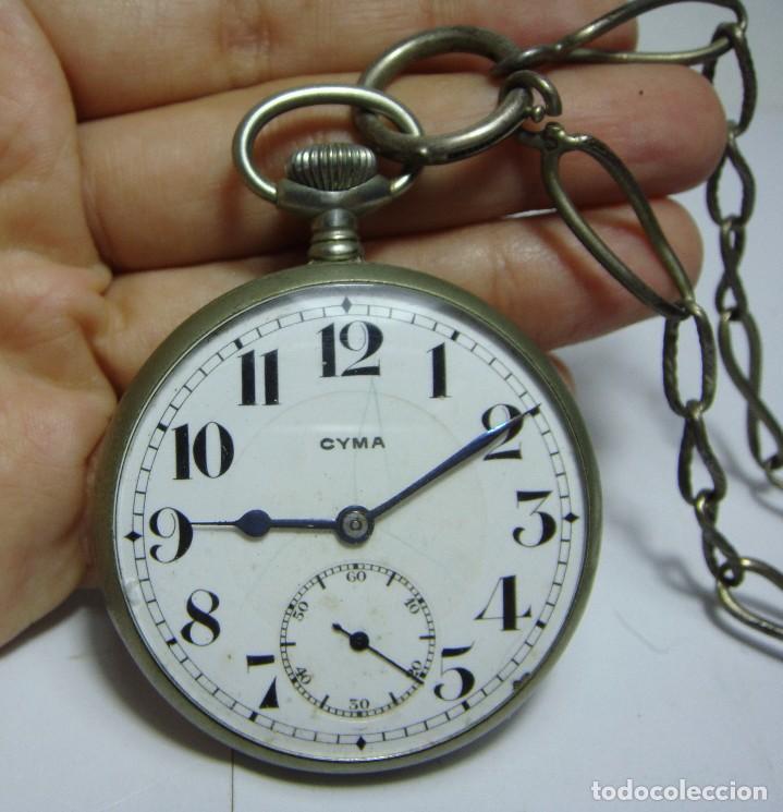 Relojes de bolsillo: Antiguo reloj de bolsillo. 3 Tapas. CYMA. Con segundero. Con leontina. - Foto 2 - 89852812