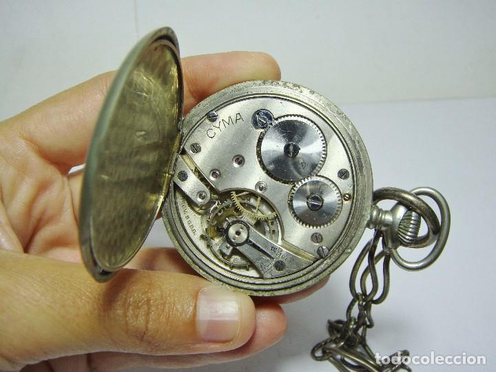 Relojes de bolsillo: Antiguo reloj de bolsillo. 3 Tapas. CYMA. Con segundero. Con leontina. - Foto 5 - 89852812