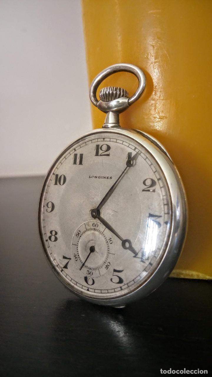 RELOJ DE BOLSILLO LONGINES BASCULANTE EN PLATA 900 C.1930-40 (Relojes - Bolsillo Carga Manual)