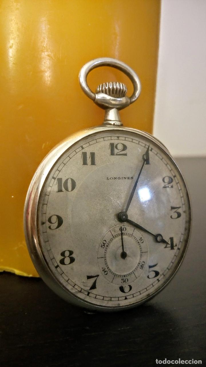 Relojes de bolsillo: Reloj de bolsillo Longines basculante en plata 900 c.1930-40 - Foto 3 - 94261620