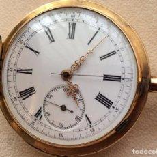 Relojes de bolsillo: RELOJ CRONÓGRAFO SABONETA DE BOLSILLO EN ORO. Lote 95560215