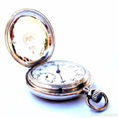 Relojes de bolsillo: ANTIGUO RELOJ BOLSILLO LONGINES CAZADOR CAJA DE PLATA CIRCA 1900 50MM FUNCIONANDO. Lote 95590943