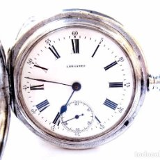 Relojes de bolsillo: ANTIGUO RELOJ BOLSILLO LONGINES CAZADOR CAJA DE PLATA CIRCA 1910 50MM FUNCIONANDO. Lote 95593755