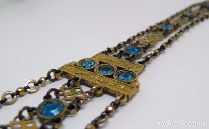 Relojes de bolsillo: Leontina Chatelaine cadena reloj de bolsillo de mujer metal dorado y cristal tallado con llave-S.XIX - Foto 3 - 96232451