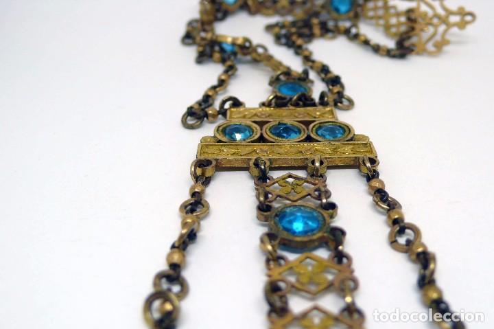 Relojes de bolsillo: Leontina Chatelaine cadena reloj de bolsillo de mujer metal dorado y cristal tallado con llave-S.XIX - Foto 5 - 96232451