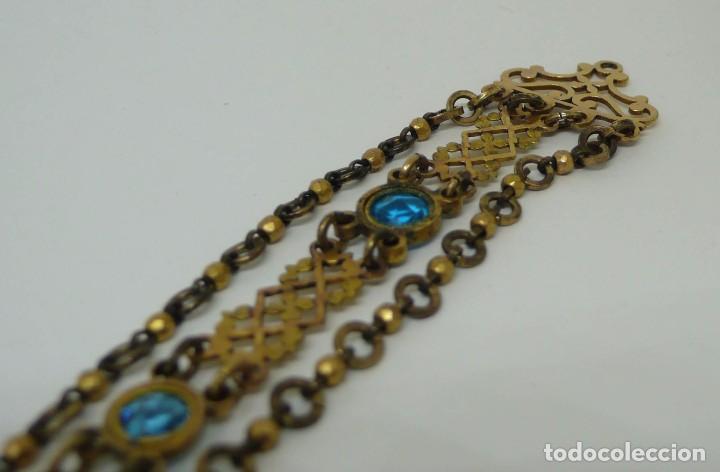 Relojes de bolsillo: Leontina Chatelaine cadena reloj de bolsillo de mujer metal dorado y cristal tallado con llave-S.XIX - Foto 8 - 96232451