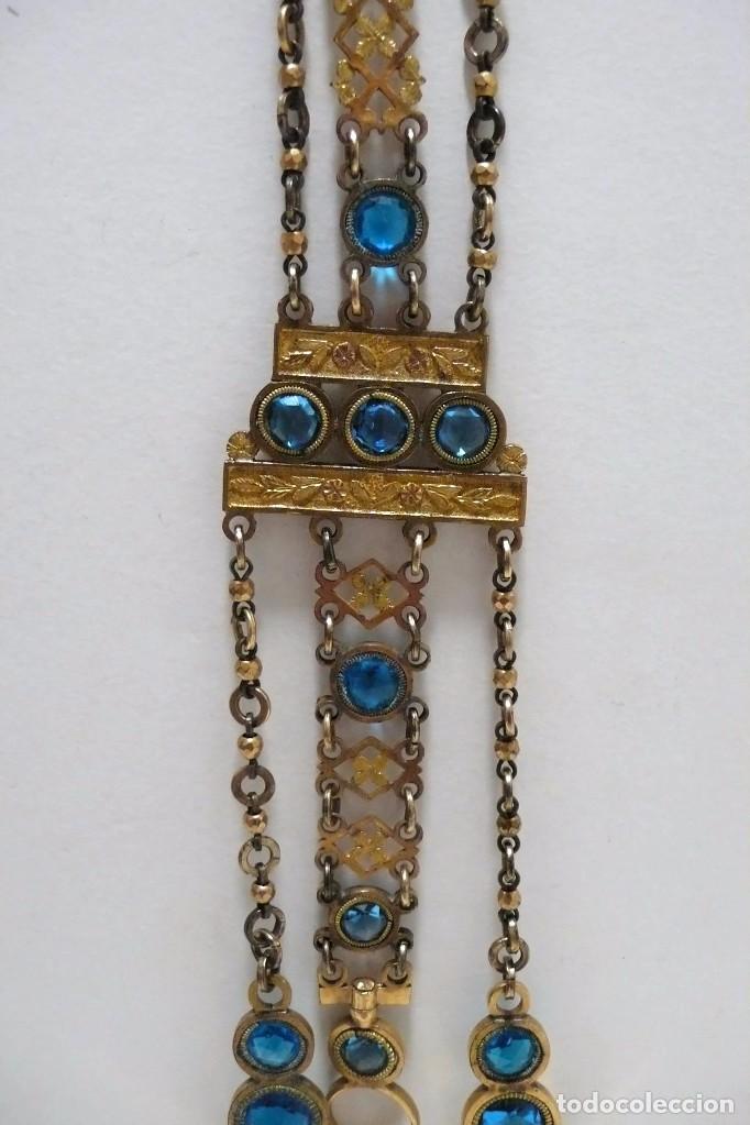 Relojes de bolsillo: Leontina Chatelaine cadena reloj de bolsillo de mujer metal dorado y cristal tallado con llave-S.XIX - Foto 9 - 96232451