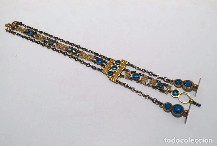 Relojes de bolsillo: Leontina Chatelaine cadena reloj de bolsillo de mujer metal dorado y cristal tallado con llave-S.XIX - Foto 11 - 96232451