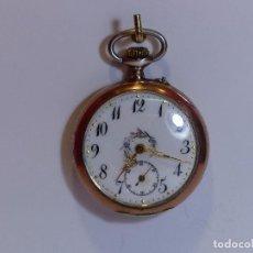 Relojes de bolsillo: ,,,RELOJ DE BOLSILLO PLATA ,,,BISELES PLATA DORADA,,,FUNCIONANDO Y EN HORA ( B - 2 ). Lote 96610235