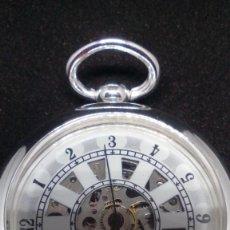 Relojes de bolsillo: RELOJ BOLSILLO CUERDA BAÑO DE PLATA FUNCIONA PERFECTAMENTE. Lote 97064151