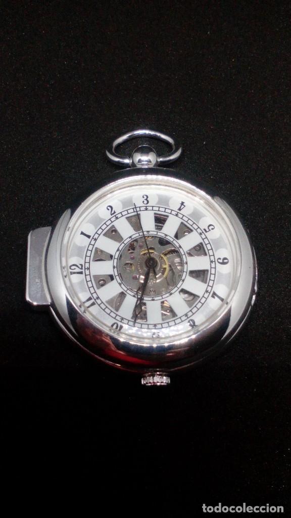 Relojes de bolsillo: RELOJ BOLSILLO CUERDA BAÑO DE PLATA FUNCIONA PERFECTAMENTE - Foto 2 - 97064151