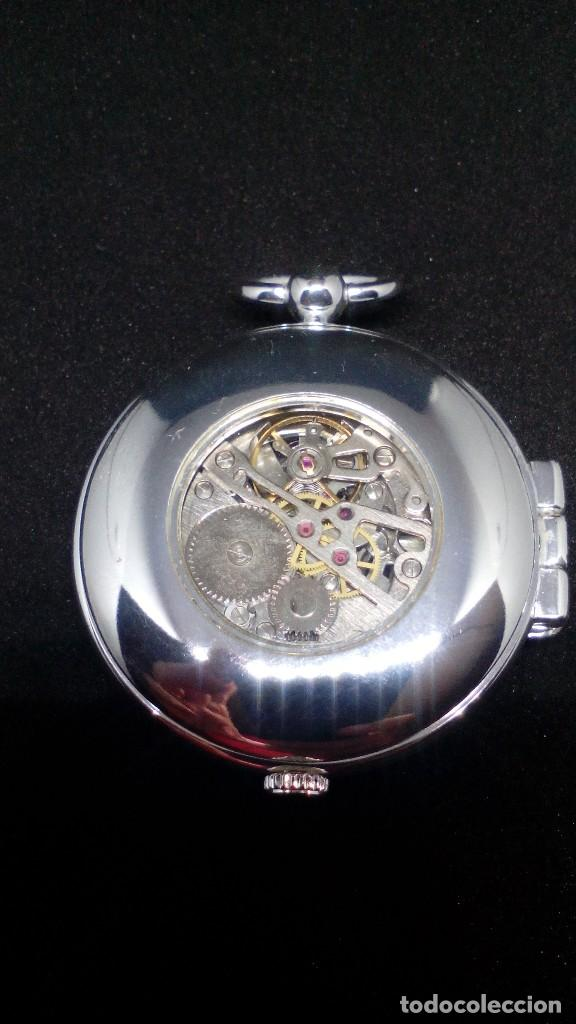 Relojes de bolsillo: RELOJ BOLSILLO CUERDA BAÑO DE PLATA FUNCIONA PERFECTAMENTE - Foto 3 - 97064151